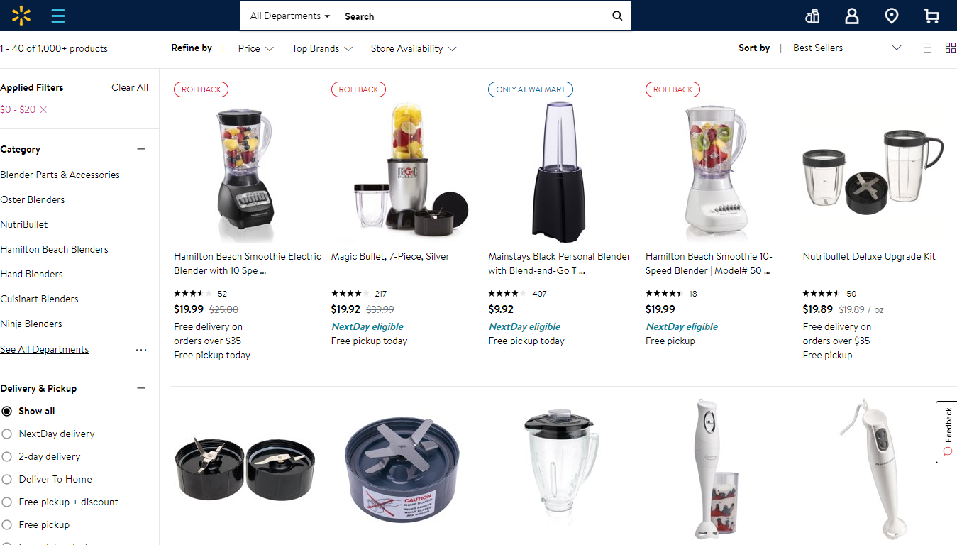 Blenders for Less than $20 on Walmart