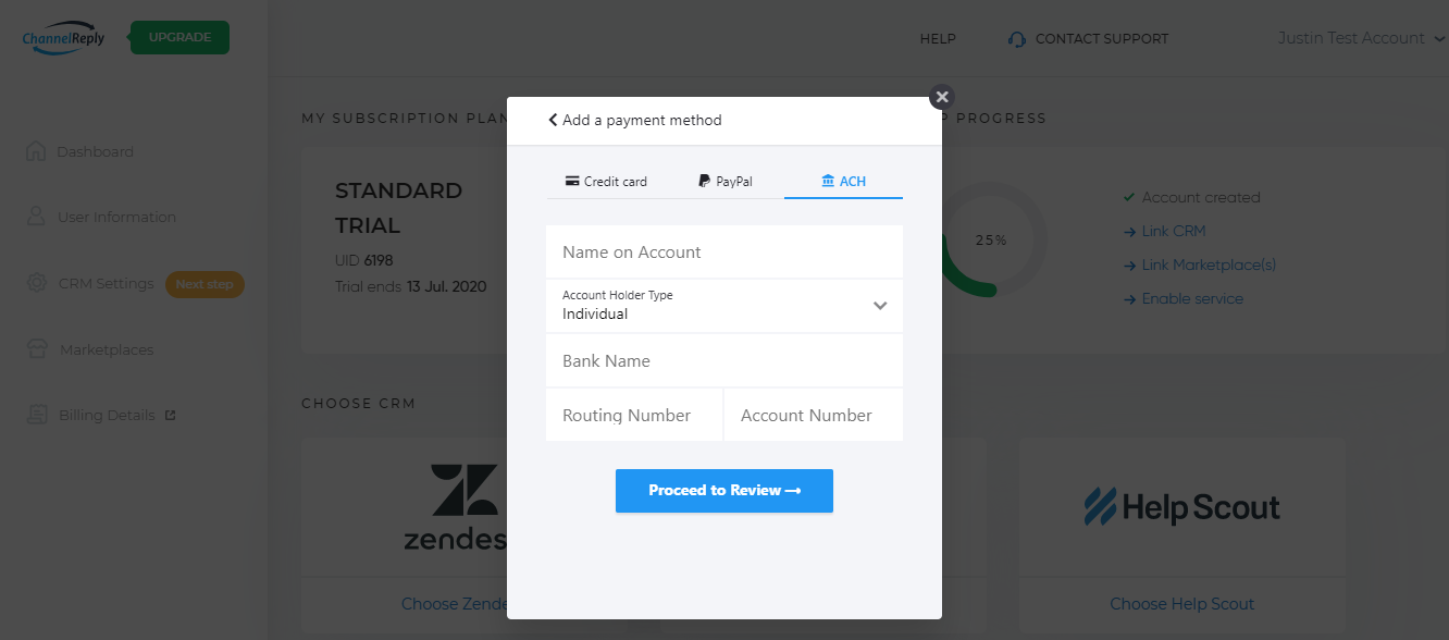 Direct Debit Checkout for ChannelReply