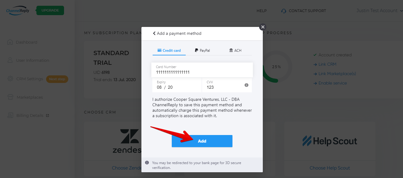 Add Credit Card to ChannelReply Account