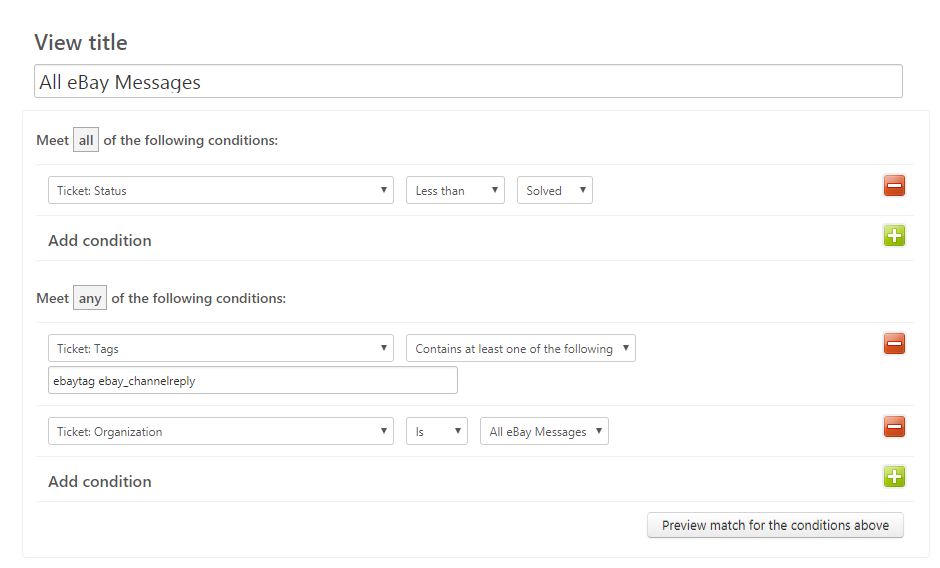 Zendesk View Settings for Showing All eBay Messages