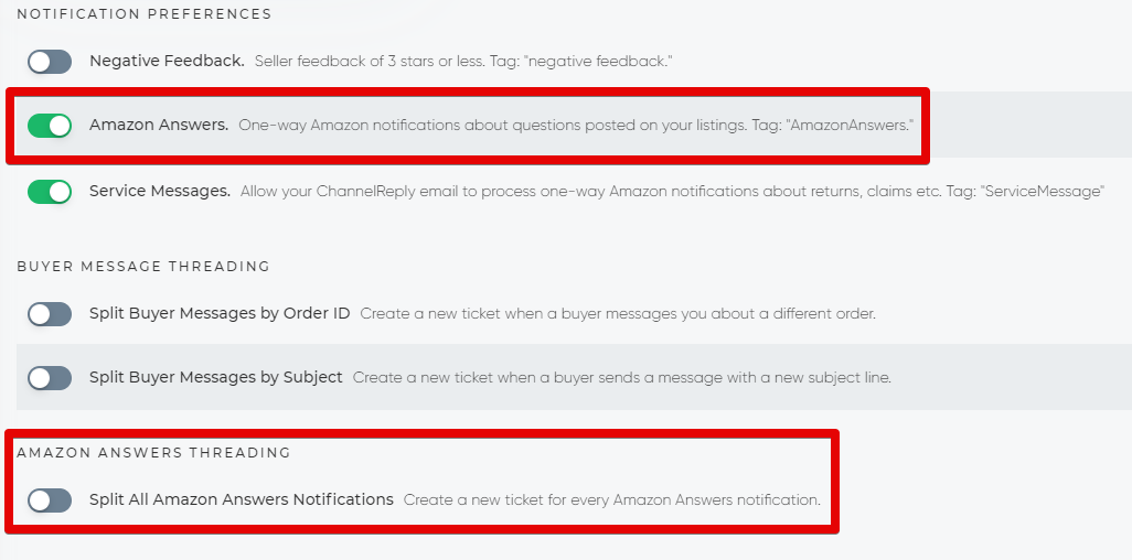 Amazon Answers Settings in ChannelReply