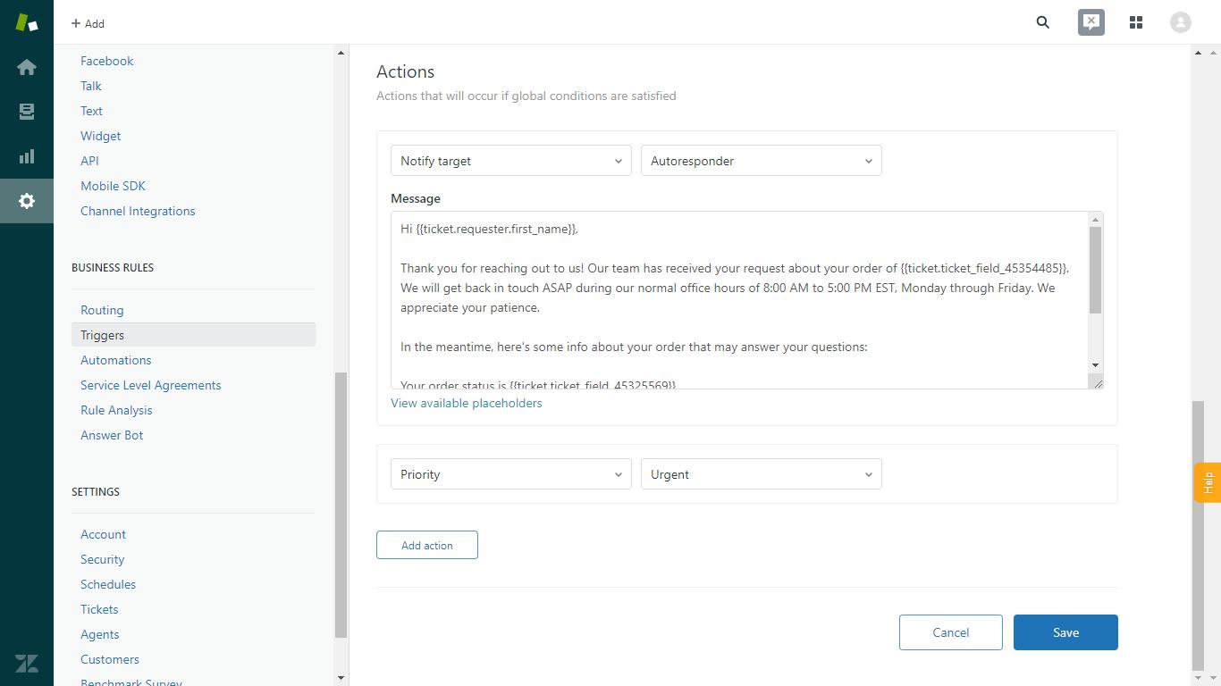 Amazon Autoresponder Built in Zendesk
