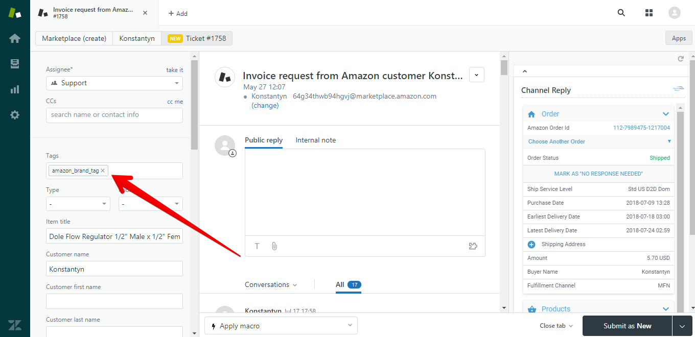 Amazon Tag in Zendesk