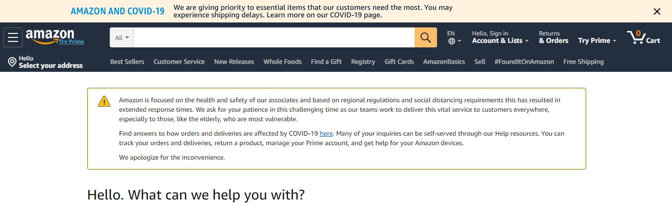Amazon Help During the Coronavirus Pandemic of 2020