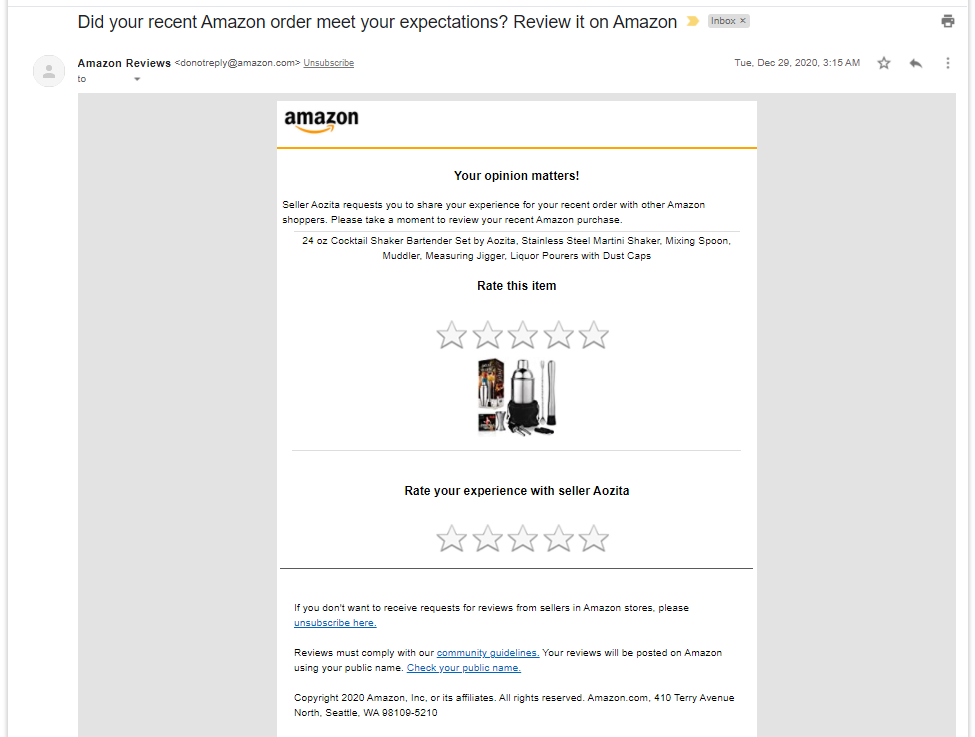 An Amazon email created using Request a Review