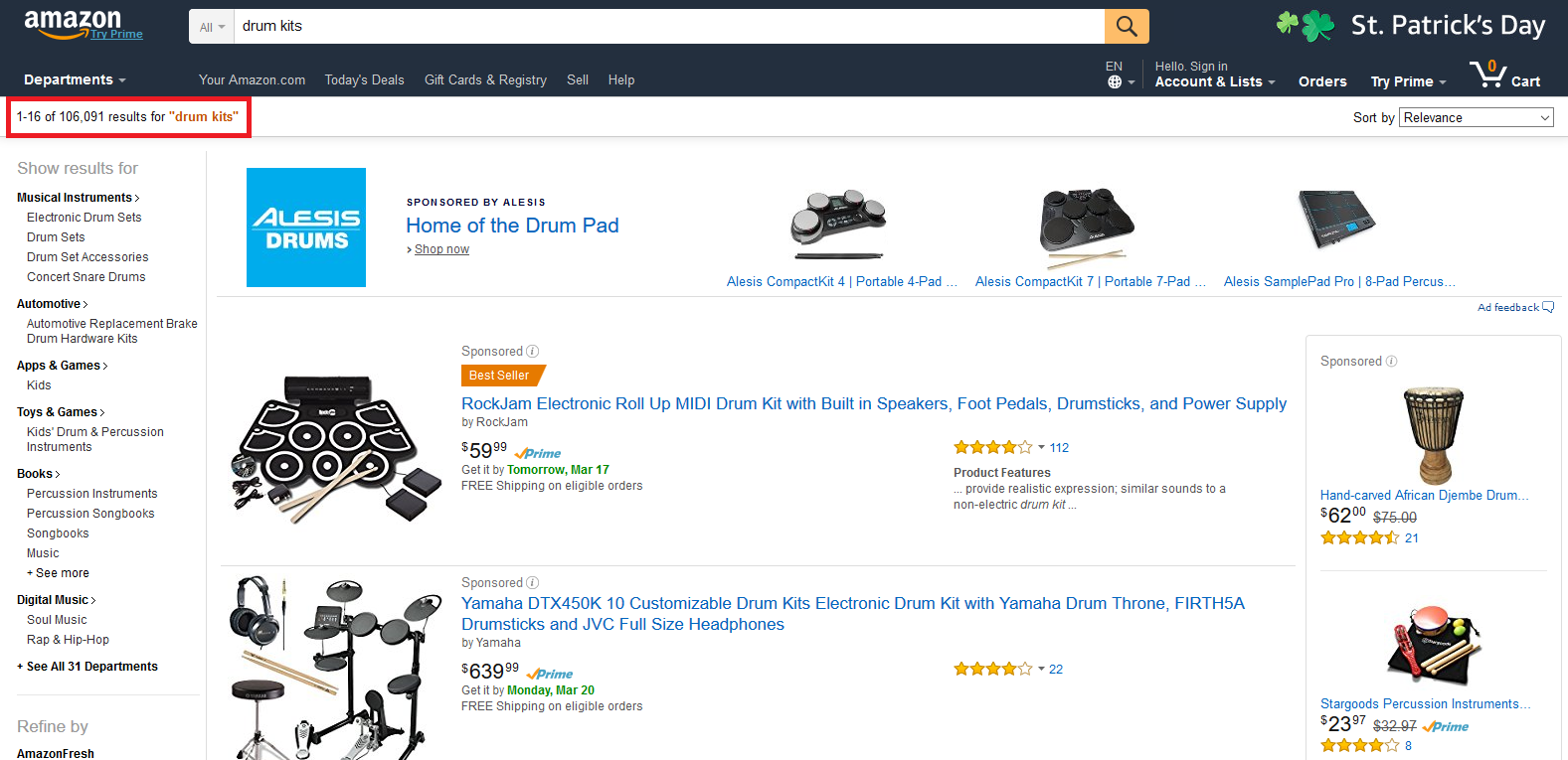 "Amazon Search Results for ""Drum Kits"""