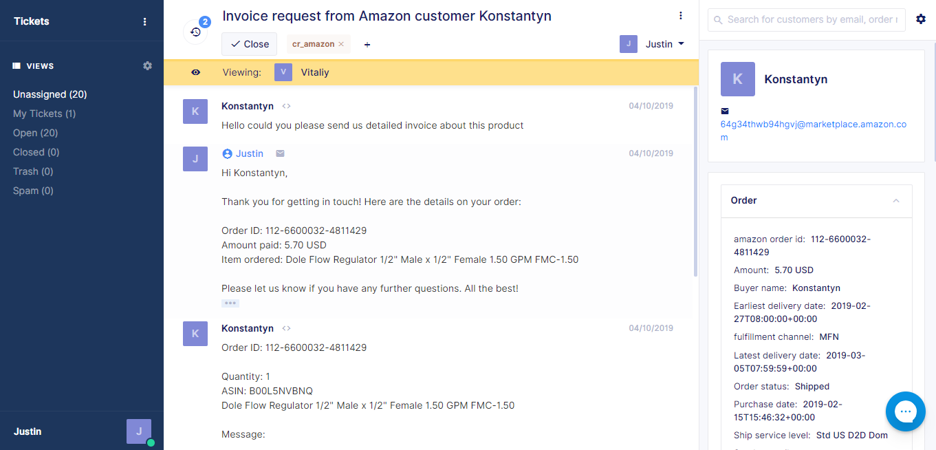 Amazon Ticket in Gorgias with ChannelReply App