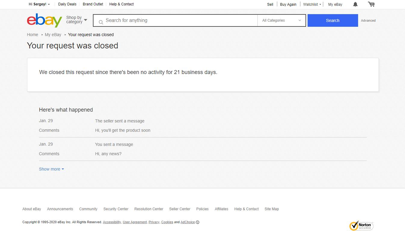 eBay Case Auto-Closed Due to Inactivity
