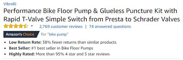 Bike Pump Listing on Amazon