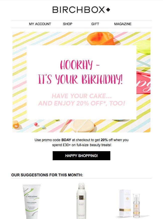 Birchbox Birthday Email