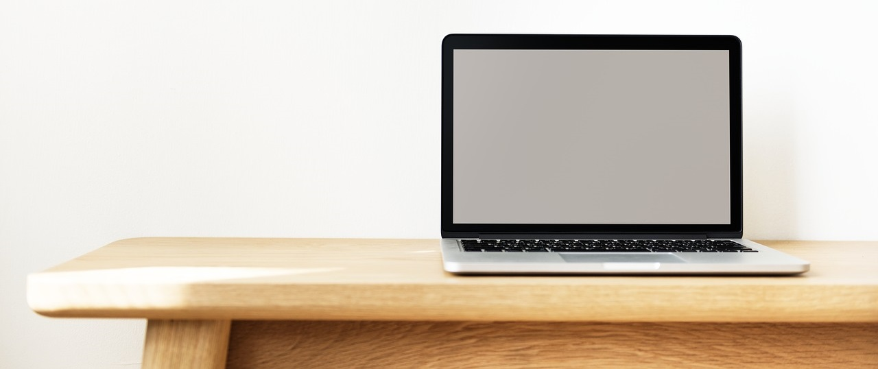 Blank Laptop on a Simple Background