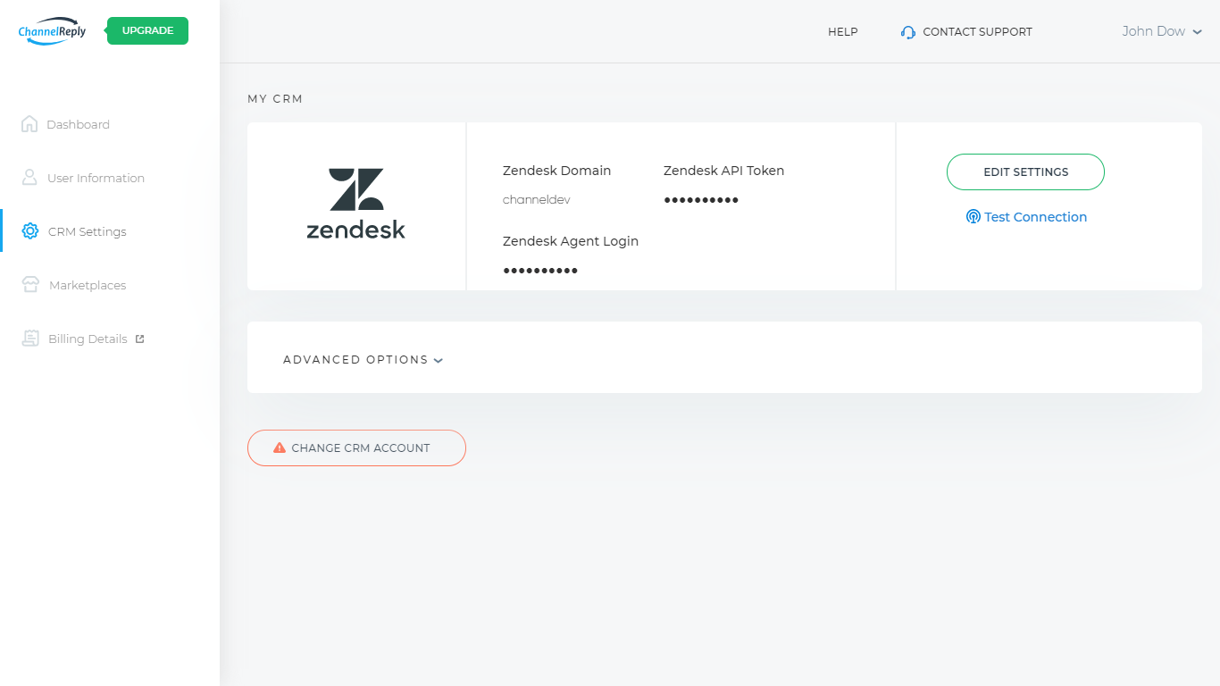 CRM Settings Tab with Zendesk Connected