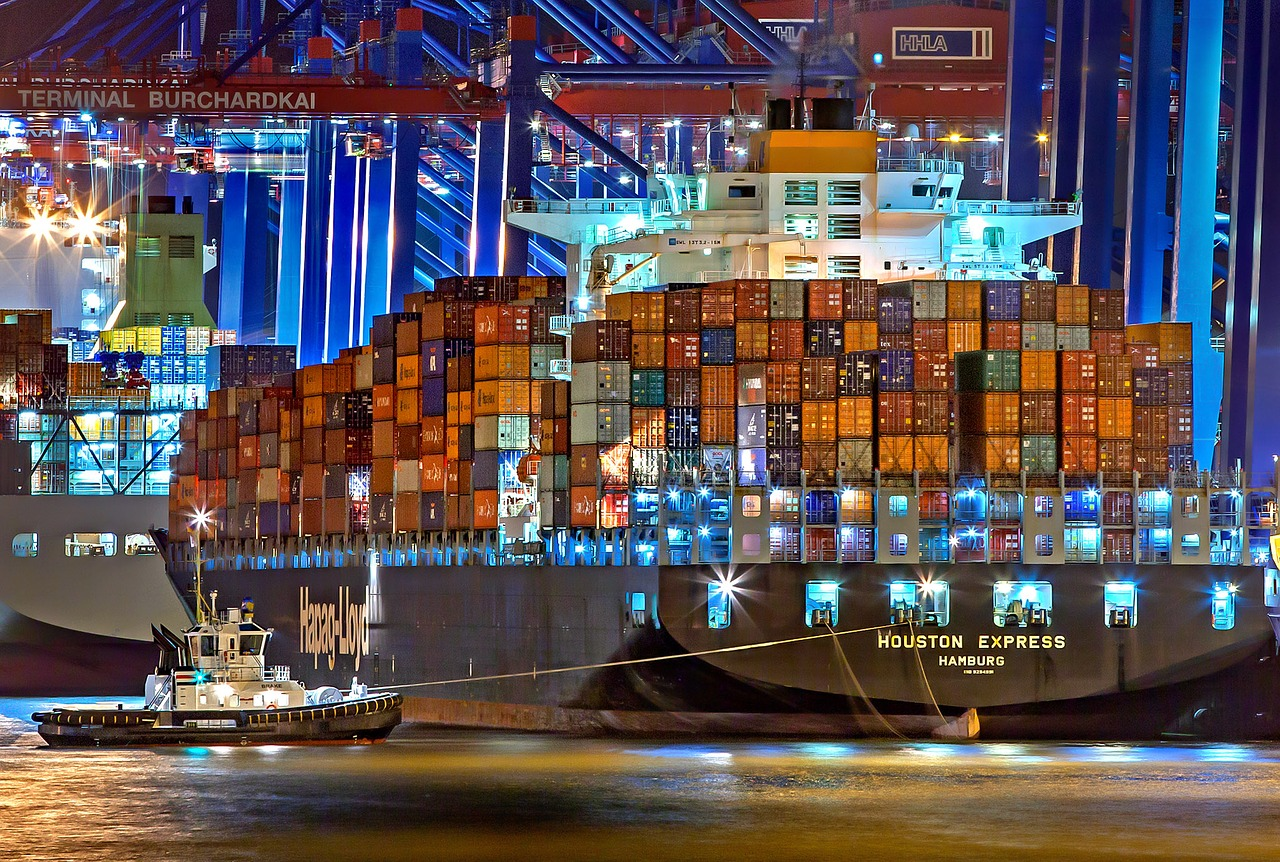 Cargo Ship at Night