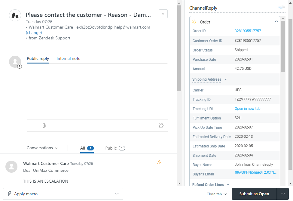 The ChannelReply App for Zendesk on a Walmart Ticket