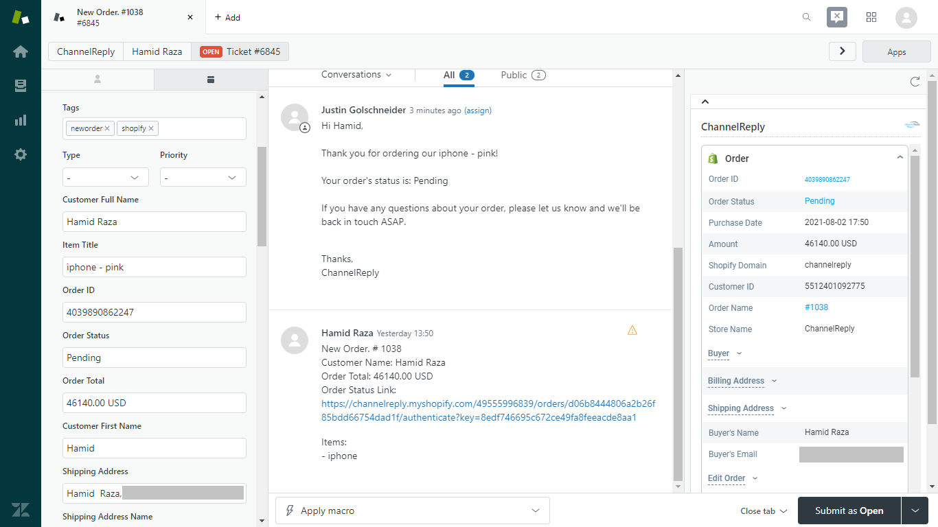 ChannelReply New Order Notification for Shopify