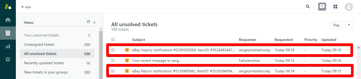 eBay Resolution Center Inquiry and Return Notifications in Zendesk