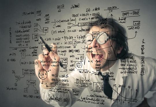Mad Scientist Performing Complex Calculations