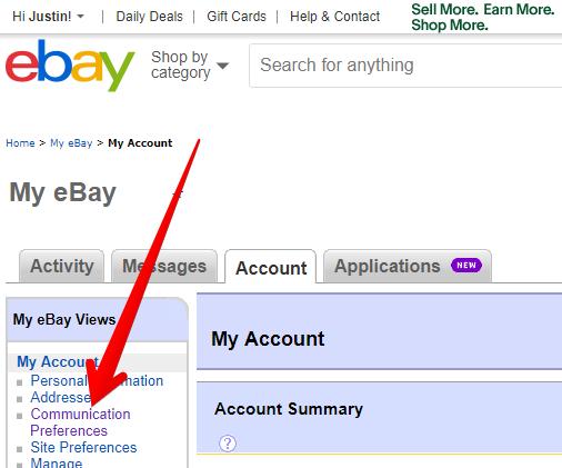 eBay Communication Preferences