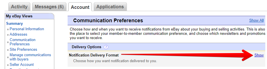 eBay Notification Delivery Format
