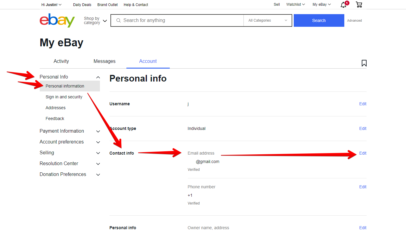 Personal Info Menu, Personal Information Menu, Contact Info Section, and Edit Button