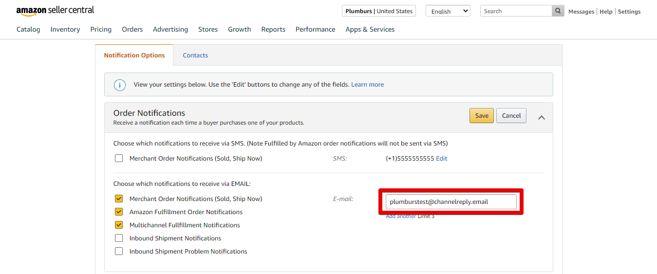 Edit Amazon Order Notification Email Address