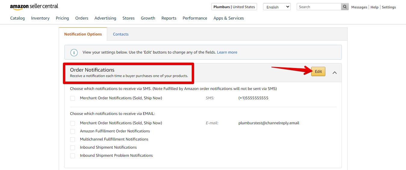 Edit Amazon Order Notification Preferences