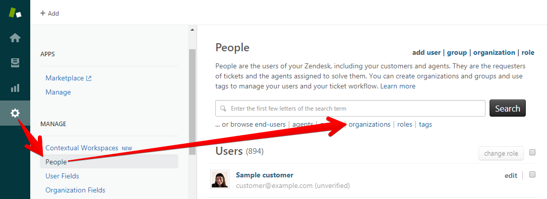 Where to Edit Organizations in Zendesk