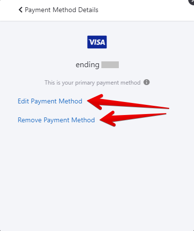 Edit or Remove Payment Method