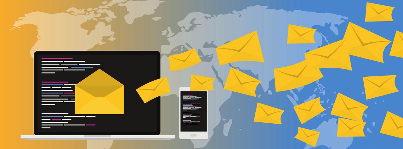 Laptop sending email Illustration