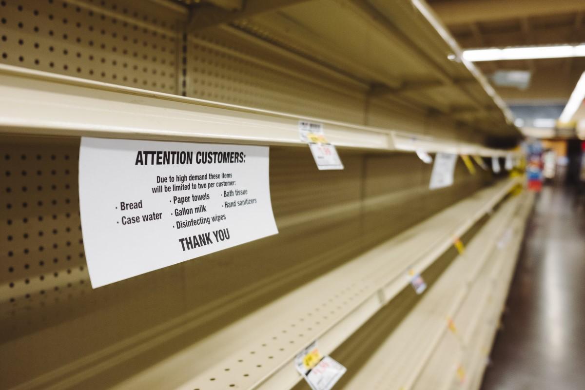 Empty Shelves Caused By Coronavirus Panic Buying