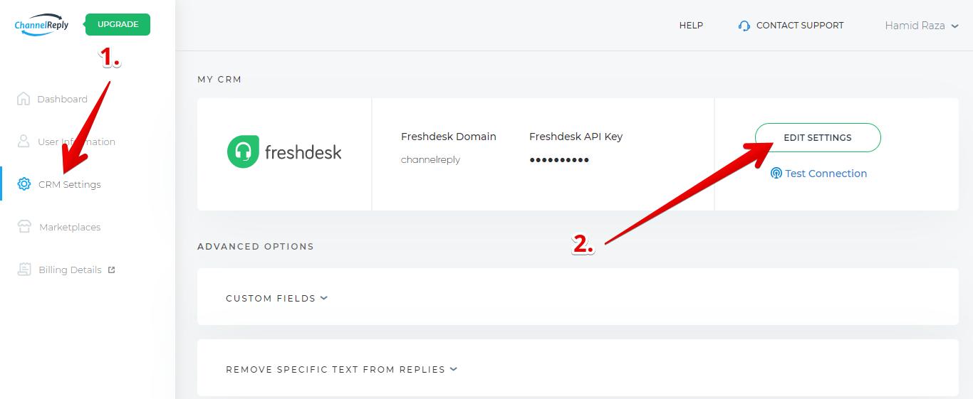 Freshdesk Domain and API Key in ChannelReply