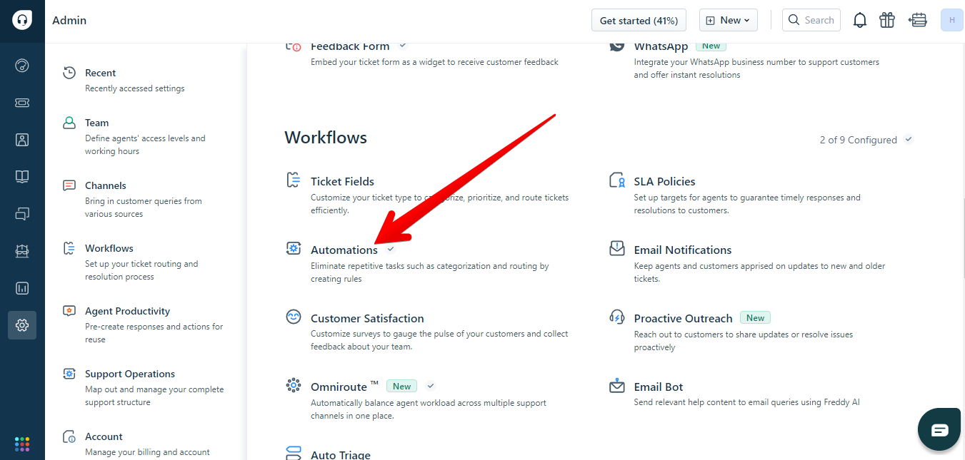 Arrow over Automations in Freshdesk Admin