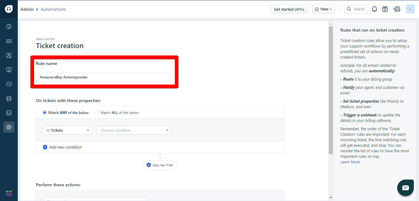 Autoresponder name window in Freshdesk automations