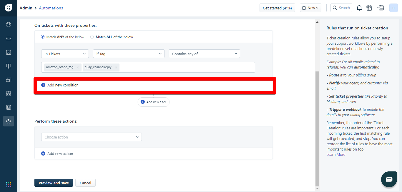 Add new condition button in Freshdesk automations