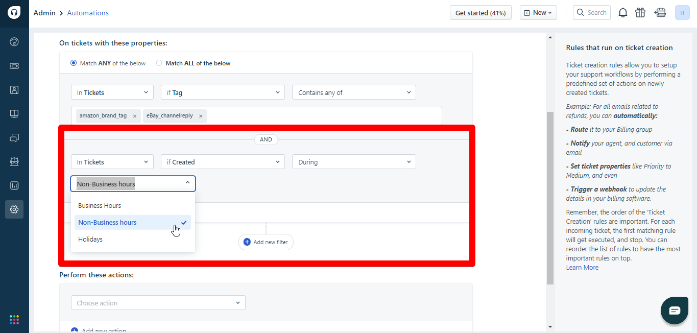 Adding conditions in Freshdesk automations