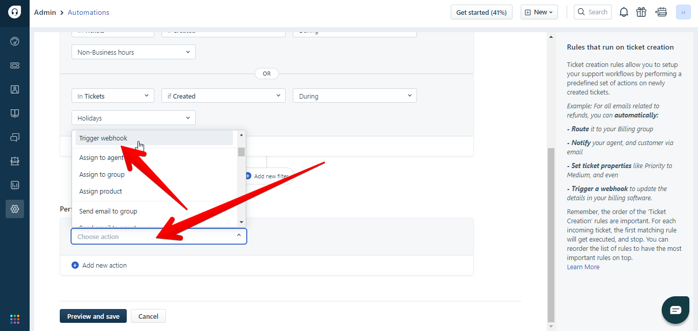 Choose Trigger Webhook from actions in Freshdesk automations