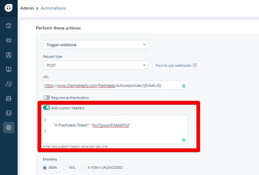 Custom headers settings in Freshdesk automations