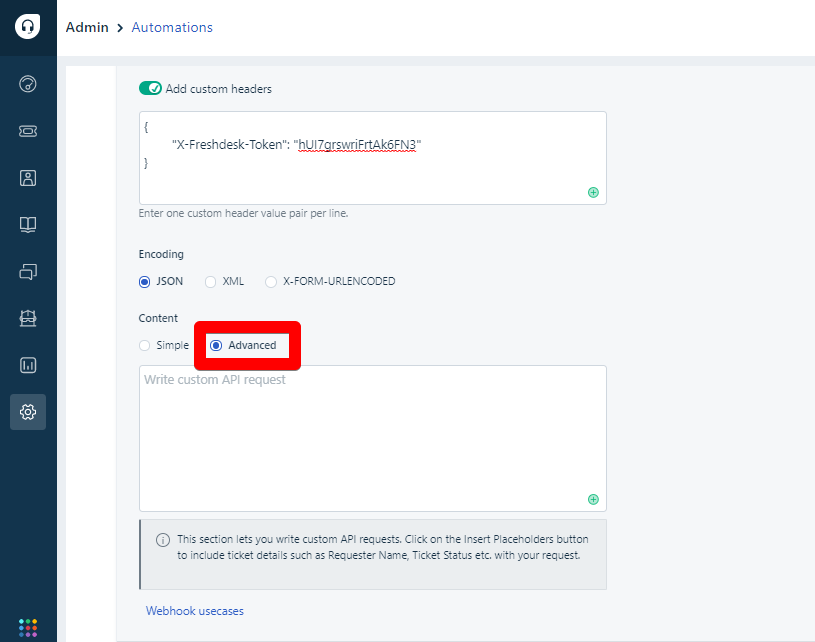 Advanced button under Content in Freshdesk automations
