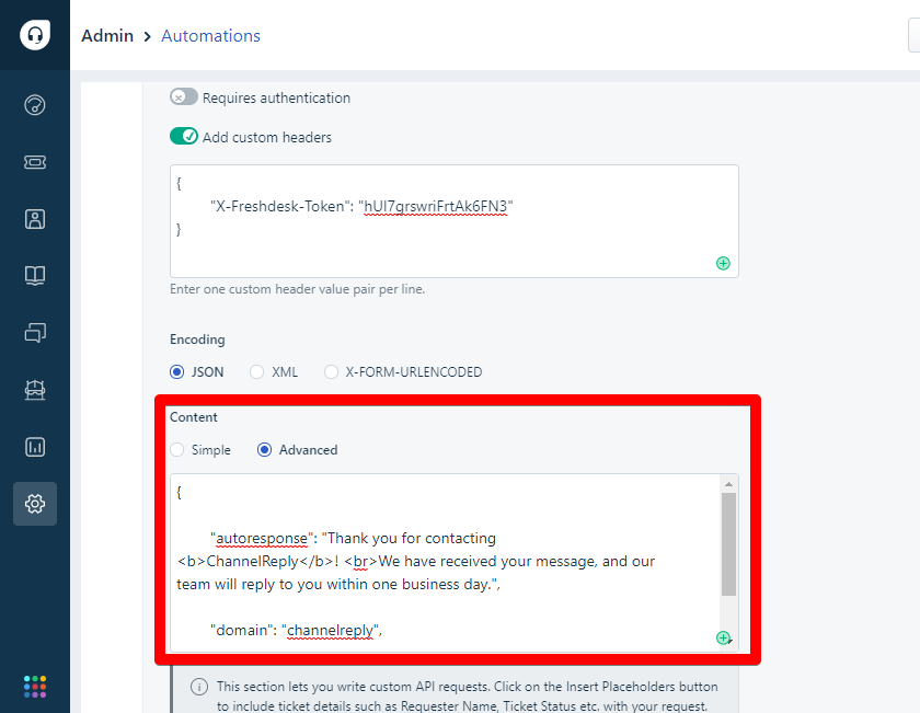 Advanced Content settings in Freshdesk automations