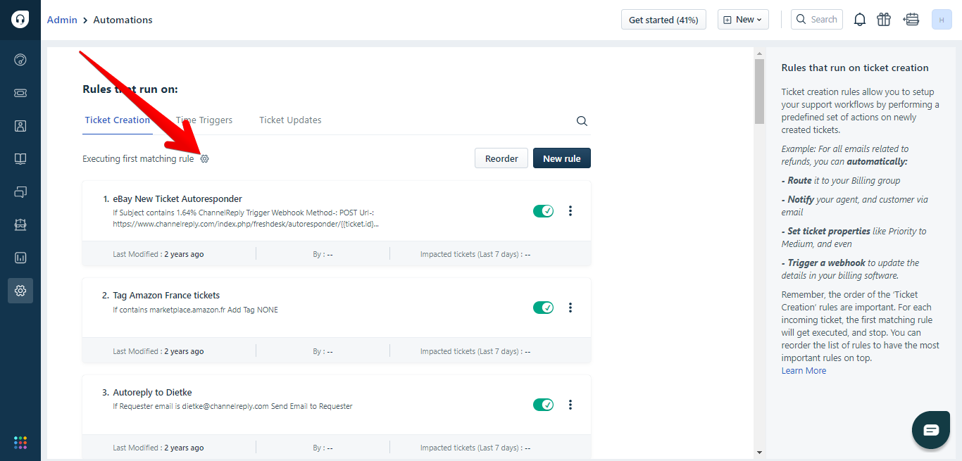 Executing first matching rule option in Freshdesk automations