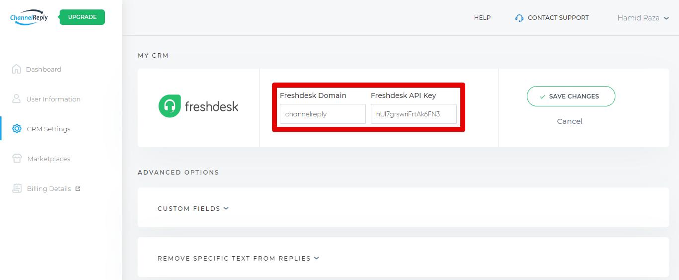 Copying Your Freshdesk Domain and API Key
