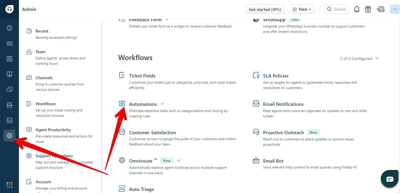 Admin page in Freshdesk