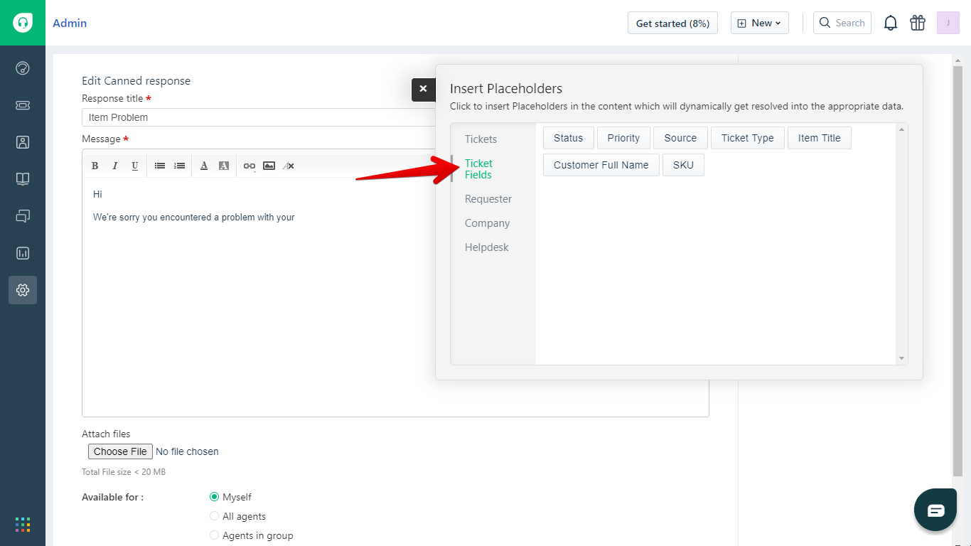 Ticket Field Submenu in Freshdesk Canned Response Placeholders