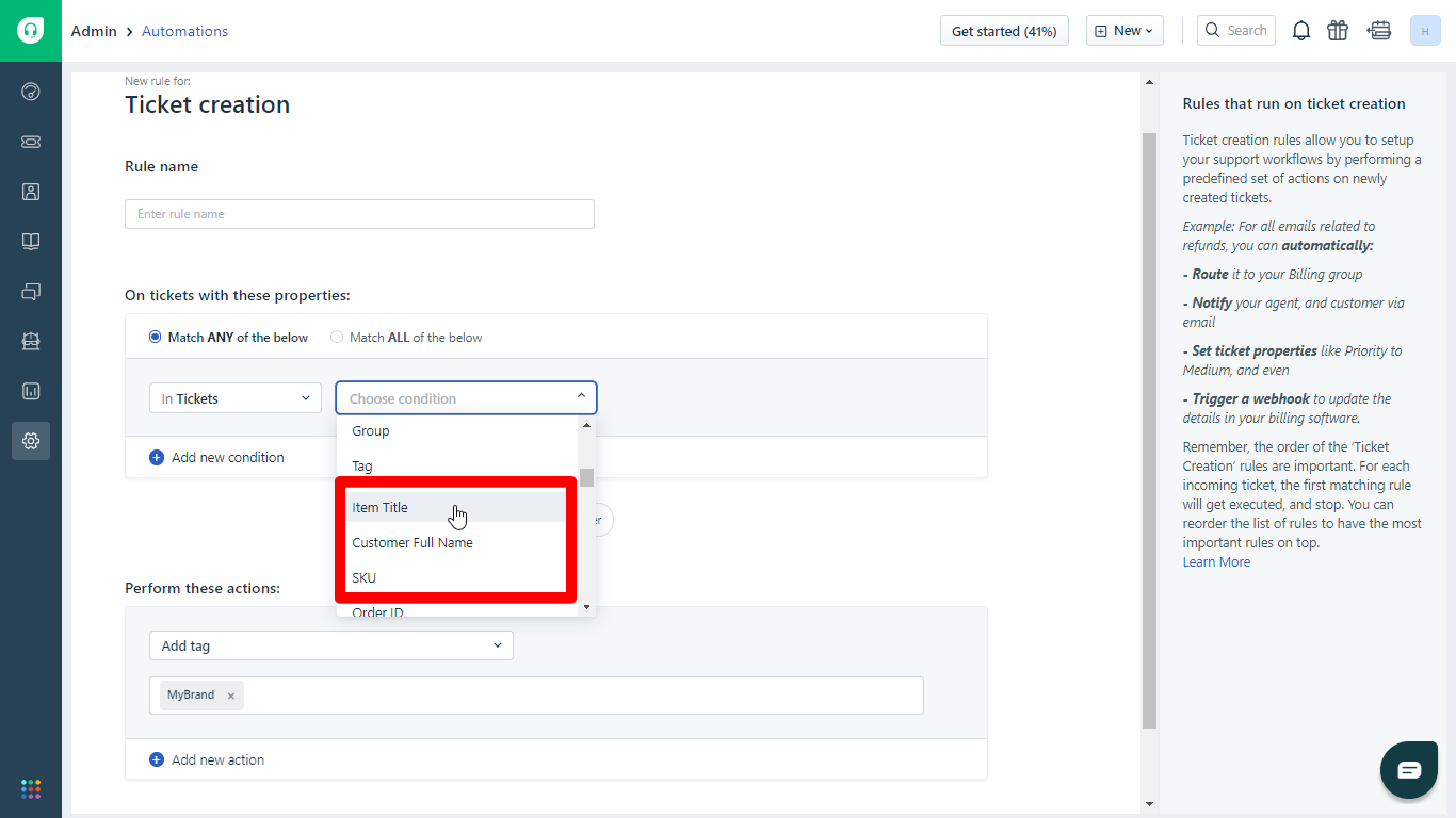 eBay-, Walmart- and Amazon-Based Conditions in Freshdesk Automations width=