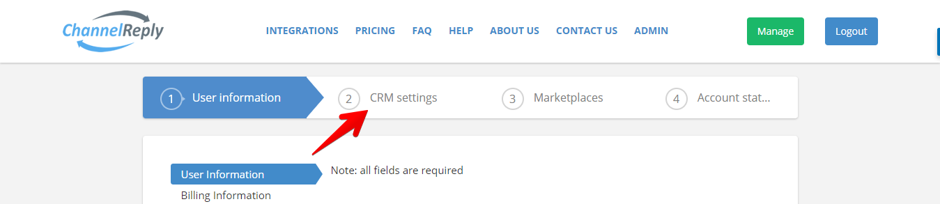 ChannelReply CRM Settings