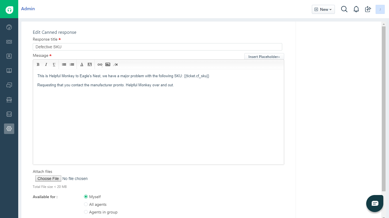 Freshdesk Predefined Reply with SKU Placeholder