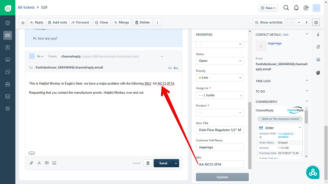 Automatically Insert Amazon Data in a Freshdesk Ticket