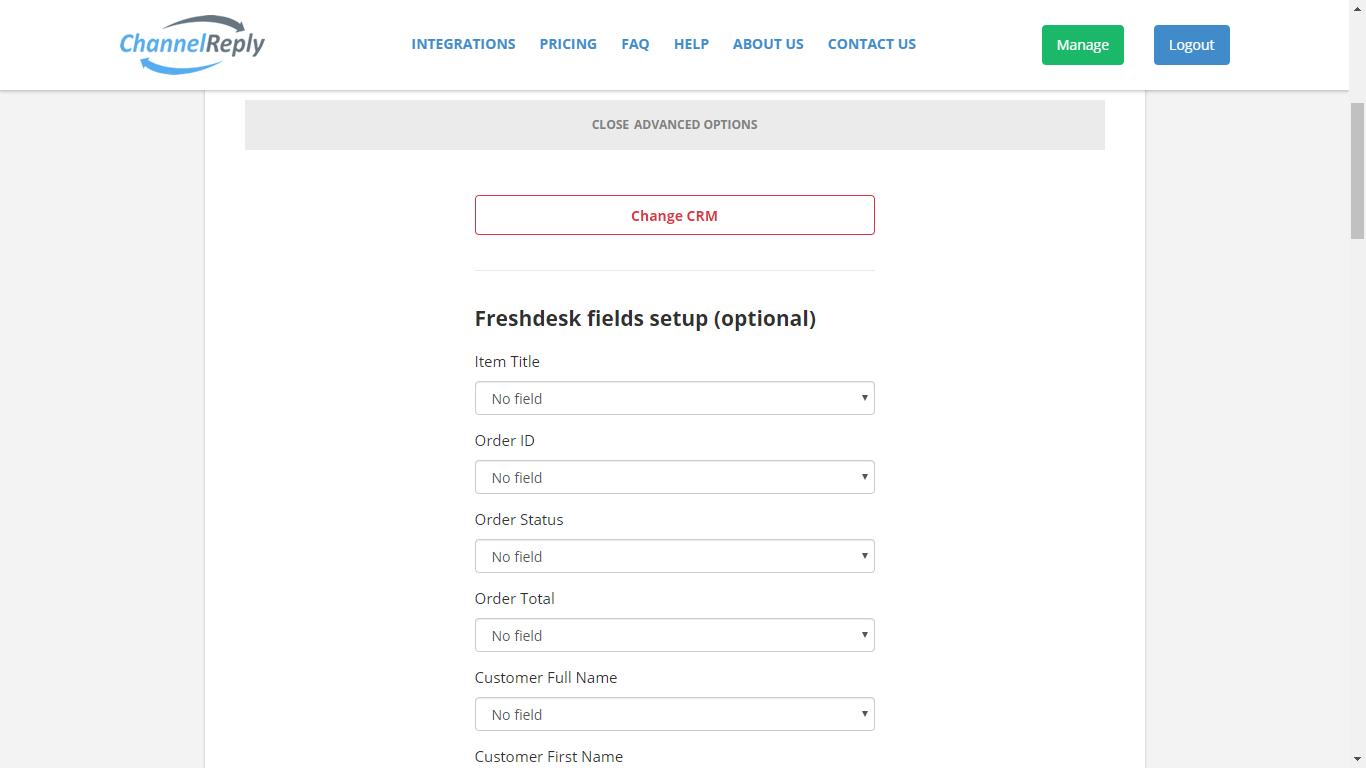 Freshdesk Custom Field Settings in ChannelReply