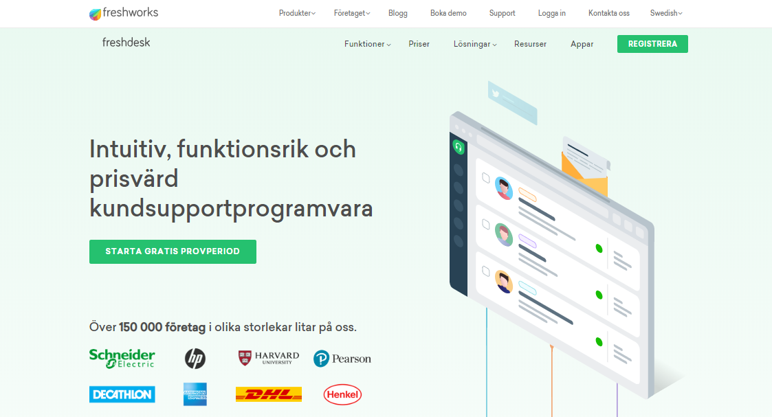 Freshdesk in Swedish