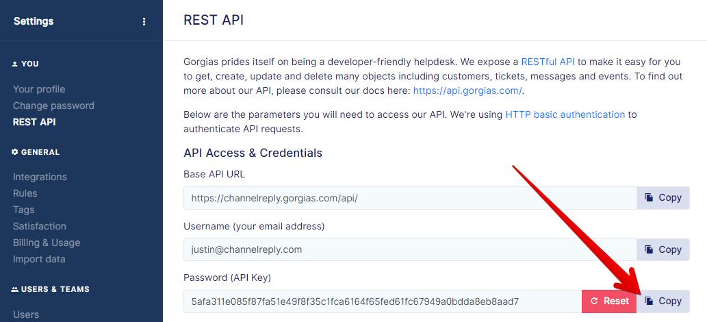 Copy Gorgias API Key